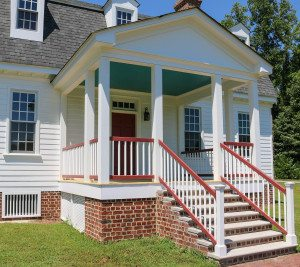 Colonial House Covered Back Porch