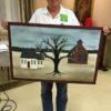 2x3 floorcloth I painted with a farm scene