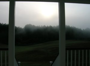 Fog over the east field as viewed from the back porch.